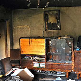 Destroyed living room from fire
